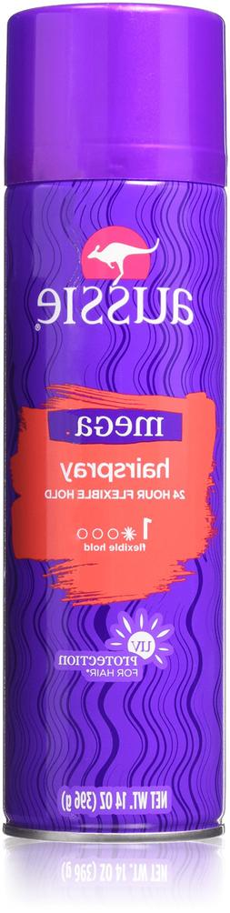 Aussie Hairspray Mega Flexible Hold Aerosol 14 Ounce