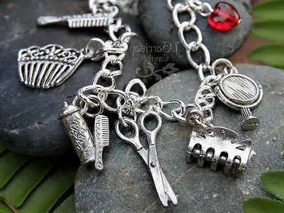 hair stylist silver charm bracelet comb hair