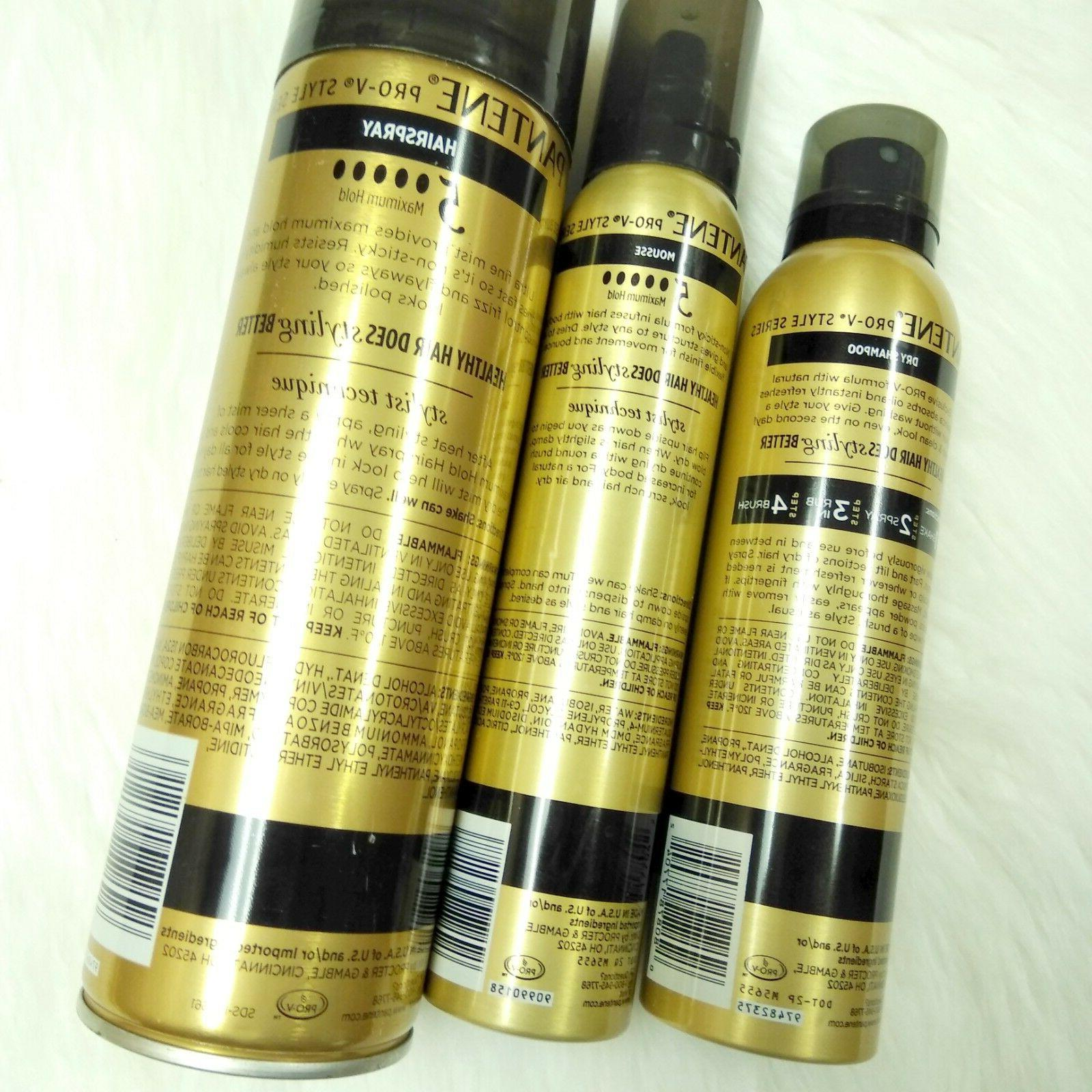 New Pro-V Stylers Dry Maximum Hold Mousse, Hair Spray