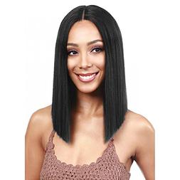 N&T Lace Front Wig Short Bob Straight Wigs Black Color Synth