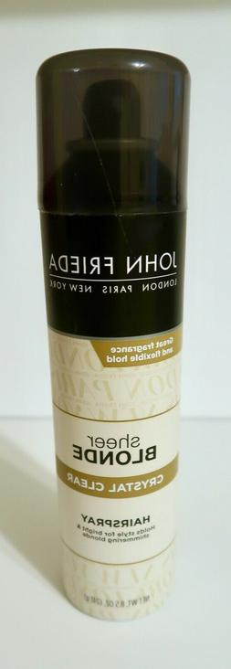 NEW HTF John Frieda Sheer Blonde Crystal Clear Hair Spray 8.