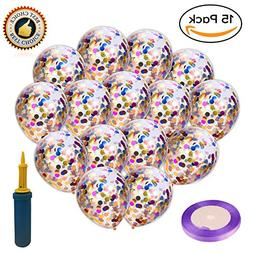 Rainbow Confetti Balloons Kids Birthday Party - Supplies 15p
